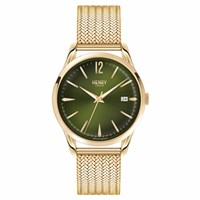 Henry London Unisex Chiswick Stainless Steel Bracelet Watch With Date Gold Green