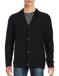 Selected Button Front Wool Cardigan Jet Black