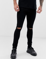 Voi Jeans Super Skinny With Ripped Knees Black