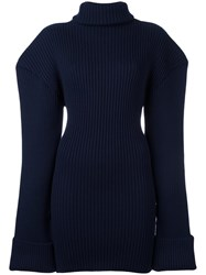Jacquemus Structured Shoulder Knitted Dress Blue