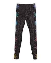 Terez Glitter Snowflake Leggings Black