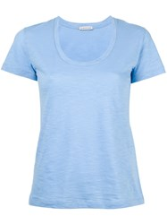 Moncler Scoop Neck T Shirt Blue