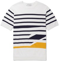 Tomorrowland Slim Fit Striped Knitted Cotton T Shirt White