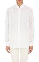 Tomas Maier Women's Perforated Snap Front Shirt White