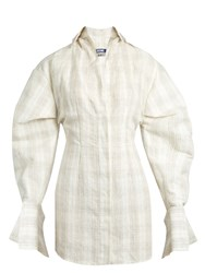 Jacquemus Checked Silk And Linen Blend Mini Shirtdress Ivory Multi
