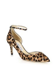 Jimmy Choo Cheetah Print Suede D'orsay Ankle Strap Pumps Natural Brown