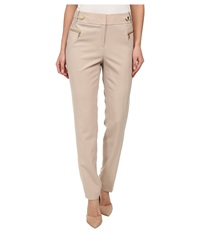 Calvin Klein Lux Pants W Snap Waist Latte Women's Casual Pants Brown