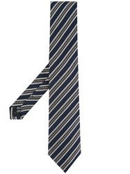 Gieves And Hawkes Striped Tie Blue