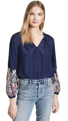 Ramy Brook Shanese Blouse Spring Navy With Multi Embroid