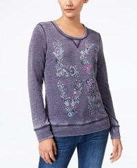 Style And Co Puff Paint Burnout Sweatshirt Whimsical Love