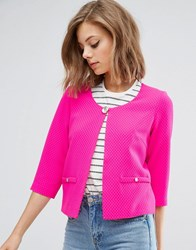 Traffic People Textured Blazer With Pocket Detail Pink