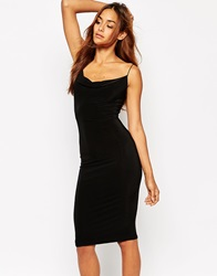 Missguided Sexy Slinky Front Cowl Neck Bodycon Dress Black
