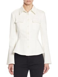 Scripted Bell Sleeve Peplum Jacket White