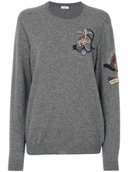 Valentino Tattoo Beaded Jumper Men Cotton Polyamide Polyester Metallic Fibre Xl Grey