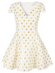 True Decadence Spot Skater Prom Dress Cream Gold