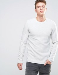 Esprit Sweatshirt In Ribbed Marl Ecru White
