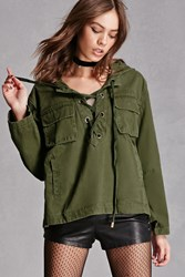 Forever 21 Lace Up Hooded Anorak Olive