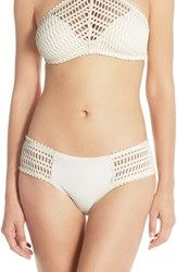 Women's Robin Piccone 'Sophia' Crochet Bikini Bottoms Cream