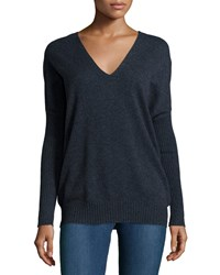 Joie Fryne Cashmere V Neck Sweater Midnight Blue
