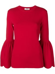 Valentino Knitted Billowing Sleeve Sweater Red
