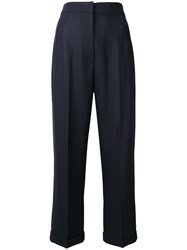 Jacquemus High Waisted Cropped Trousers Blue