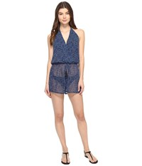 Michael Michael Kors Summer Breeze Halter Romper Cover Up New Navy Women's Swimsuits One Piece