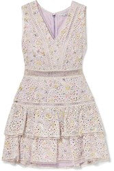 Alice Olivia Tonie Tiered Printed Broderie Anglaise Modal Mini Dress Lilac