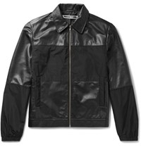Mcq By Alexander Mcqueen Viper Panelled Leather And Shell Blouson Jacket Black
