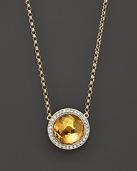 Bloomingdale's Citrine And Diamond Round Pendant Necklace In 14K Yellow Gold 16.5 No Color