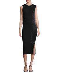 Grey By Jason Wu Sleeveless Ribbed Midi Dress Black