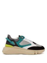 Buscemi Veloce Leather And Suede Trainers Black Green
