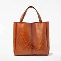 And Or Isabella Leather Stud Tote Bag Tan