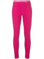 Off White Ribbed Logo Leggins Pink