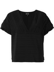 Just Cavalli Pleated V Neck Boxy Top Black