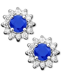 Effy Collection Royalty Inspired By Effy Sapphire 5 8 Ct. T.W. And Diamond 1 4 Ct. T.W. Stud In 14K White Gold Blue