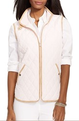 Women's Lauren Ralph Lauren Faux Leather Trim Vest Rose Quartz