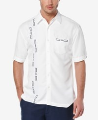 Cubavera Men's Geo Embroidered Short Sleeve Shirt Bright White