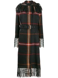 Salvatore Ferragamo Fringed Tartan Coat Grey