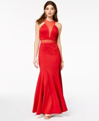 As U Wish Juniors' Halter Gown Created For Macy's Red