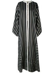 Etro Collarless Long Striped Duster Coat Women Silk Cotton Polyester Viscose 42 Black