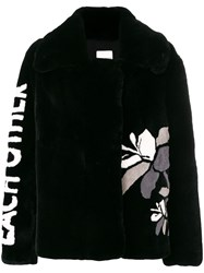 Each X Other Text And Flower Print Peacoat Black