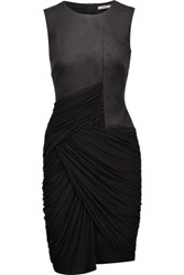Bailey 44 Debbie Ruched Faux Suede And Stretch Jersey Dress Black