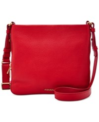 Fossil Preston Leather Crossbody Real Red