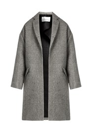 Raey Boucle Cotton And Mohair Blend Blanket Coat Grey