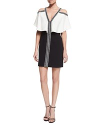 J. Mendel Ruffled Cold Shoulder Combo Dress Ivory Black Ivoire Noir