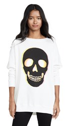 Wildfox Couture Glow Skull Roadtrip Sweatshirt Vanilla