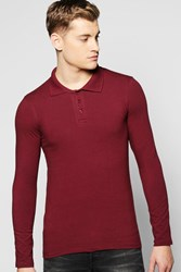 Boohoo Sleeve Muscle Fit Polo In Jersey Wine