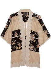 Anna Sui Lace Paneled Printed Silk Crepe De Chine Jacket Black
