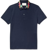 Gucci Slim Fit Embroidered Stretch Cotton Pique Polo Shirt Navy