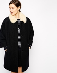 Helene Berman Vintage Coat With Cuffed Sleeves And Faux Fur Collar